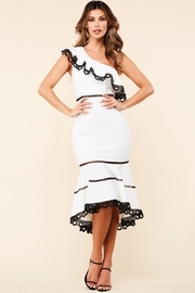 White one shoulder midi dress.