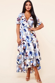 Flower print wrap midi dress.