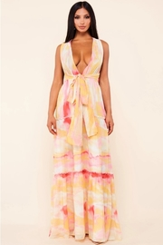 Orange Multi marble print maxi dress.