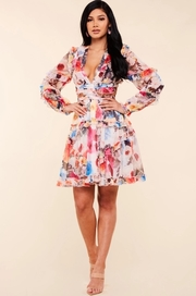 Colorful watercolor gardenia print mini dress.