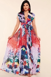 Whimsical floral print maxi dress.