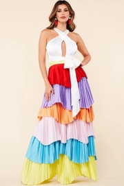 Accordion pleated maxi dress.