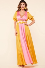 Golden mustard and light pink colorblock maxi dress.