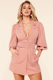 Statement sleeve dusty pink blazer dress.