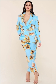 Gold tropical flower print sky blue 2 pcs set.