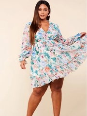 Plus Size Spring blossom print empire waist relaxed fit mini dress.