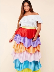 Plus Size Accordion pleated maxi dress.