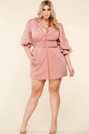 Plus Size Statement sleeve dusty pink blazer dress.