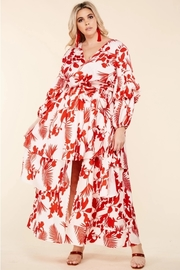 Plus Size This red leaf print on pale pink maxi dress.