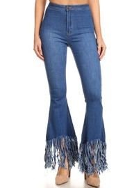 Fringe hem bell bottom jean.