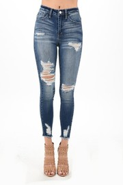 High Rise Ankle skinny distressed jean.