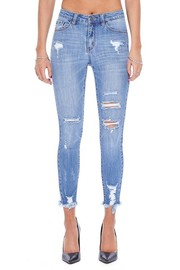 Denim Ankle Skinny distressed jean.