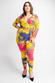 Plus Size Bodycon long sleeve v neck crisscrossed on top and a tie on the waist printed jumpsuit.