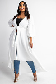 Plus Size Puff sleeve maxi cardigan with tie front