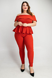 Plus Size Off shoulder peplum top jumpsuit.