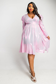 Plus Size Pleated puff sleeve knee length dress with front slits.