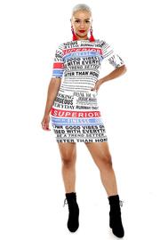 3/4 sleeve SUPERIOR print bodycon dress.