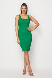 Sleeveless cotton rib dress.