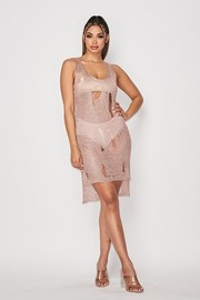 Lurex knitted sheer sleeveless dress.