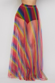 Rainbow pleated sheer skirt.