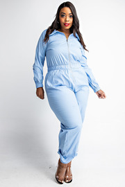 Plus Size Poplin long slv zip front jumpsuit.