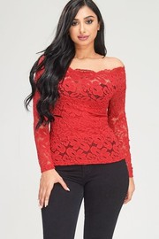 Off shoulder lace long sleeve top.