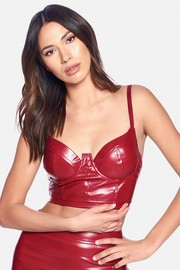PU leather open back cropped top.