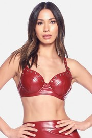 PU leather studded detailed strap buckled bra top.