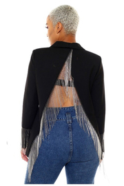 4 Button jacket with fringe detail on the back.