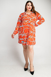 Plus Size Long slv button down shirt dress.