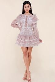 Taupe paisley print mini dress