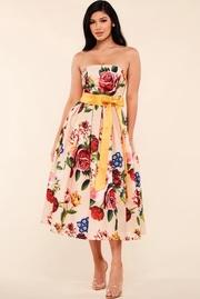 Rose Garden print peach straples midi dress