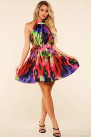 Abstract multicolor print halter mini dress
