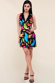 Neon multi abstract shape print satin blazer dress