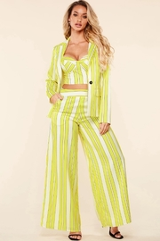 Yellow lime pinstripe three piece set
