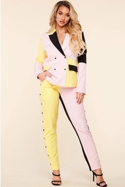 Chic pink,yellow,black color block 2 piece set