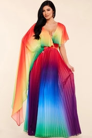 Rainbow accordion pleated maxi dress