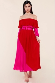 Color block red and fuchsia accordion pleated midi dress