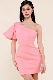 Bubble gum pink one shoulder mini dress