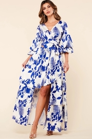 Blue tropical print 2 piece set