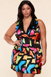 *PLUS* Neon multi abstract shape print satin blazer dress