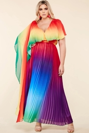 *PLUS* Rainbow accordion pleated maxi dress
