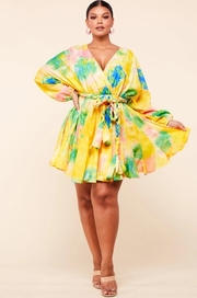 *PLUS* Yellow tie dye godet mini dress