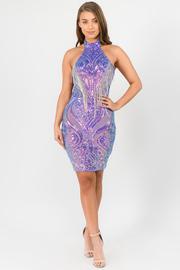 Halter sequins dress and solid back in lavender.