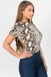 Snakeskin print, fitted bodysuit with a crew neckline and open bank.