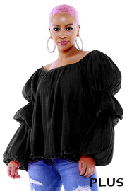 Plus Size Long balloon sleeve top.