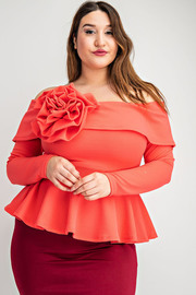 Plus Size Long sleeve off shoulder peplum top with flower.