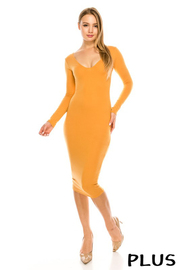 Plus Size Long slv. Solid midi dress.