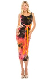 Tie dye midi dress with front tie.