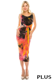Plus Size Tie dye midi dress with front tie.